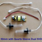 UV-C 254nm Ushape 50mm Bulb Dual 5V DC Kit Quartz Sleeve Air Water Purification