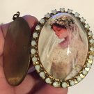 Large Vintage Cameo Locket Edwardian Bride Opal Rhinestone KeepsakeOne of a Kind Jewelry