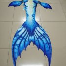 Swimmable Mermaid Tail with Monofin for Kids, Kids Mermaid Tail Swimwear Blue