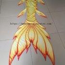 Custom Youth Kids Fairy Mermaid Tail for Swimming Yellow Swimmable Mermaid Cosplay Costumes