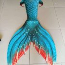 Green Swimmable Mermaid Tail Kids, Fabric Mermaid Tail with Monofin, Gift Idea