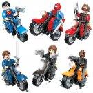 Marvel DC Superman Spiderman with Motorcycle minifigure Comaptible Lego Super Hero