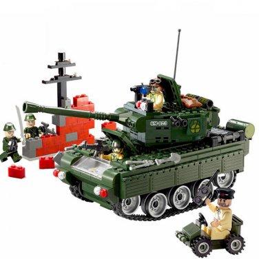 Custom WW Tank Battle German Panzer Tank American Soliders