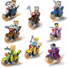 Minecraft World Steve Riding Motorcycle Compatible Lego Minifigures