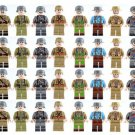 WW2 8 Nations Soldiers American Bristish Chinese Frence Janpanese German Italian Fit Lego