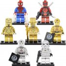 Limited Deadpool CPO3 Mr. Gold Ironman Clone Trooper Spiderman Minfigures Fit Lego