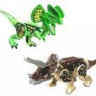 Custom Dilophosaurus Triceratops Big Figure Compatible Lego Jurassic World Dinosaur