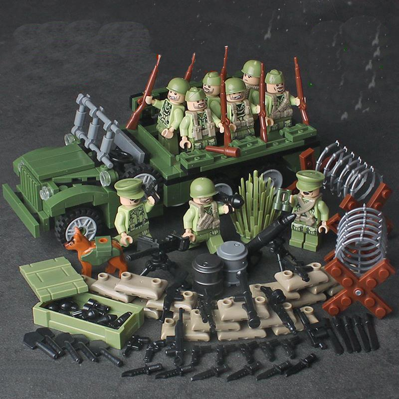 WW2 American Trooper Soldiers Transport Truck Compatible Leog Military Sets