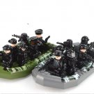 New American SWAT Seal Soldiers Police Speed Boat Lego Military Set Fit