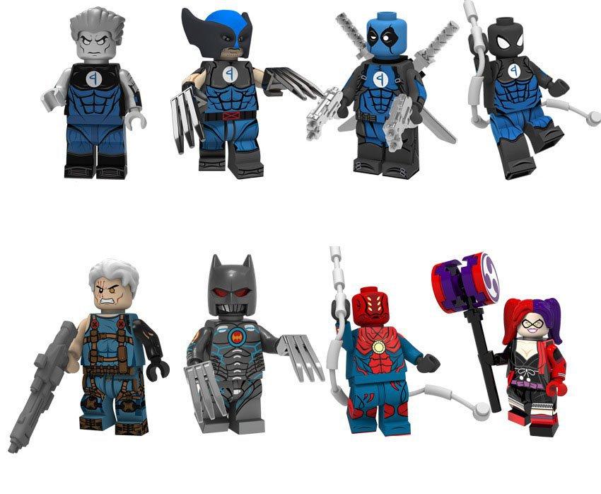 8pcs Machine Murder Colossus Cable Deadpool Spiderman Batman Minifigures Lego Fit