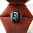 Ring:  Mans Sterling Onyx 'J'  Monogram