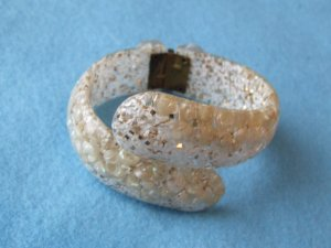 Bracelet Clear Lucite Clamper with Seashells and Confetti