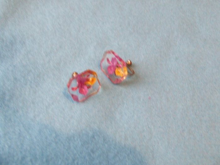 Earrings Carved Painted Lucite Purple Orchids