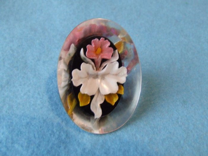 Pin Oval Lucite Reverse Carved and Painted Orchid with Matching Screw Back Earrings