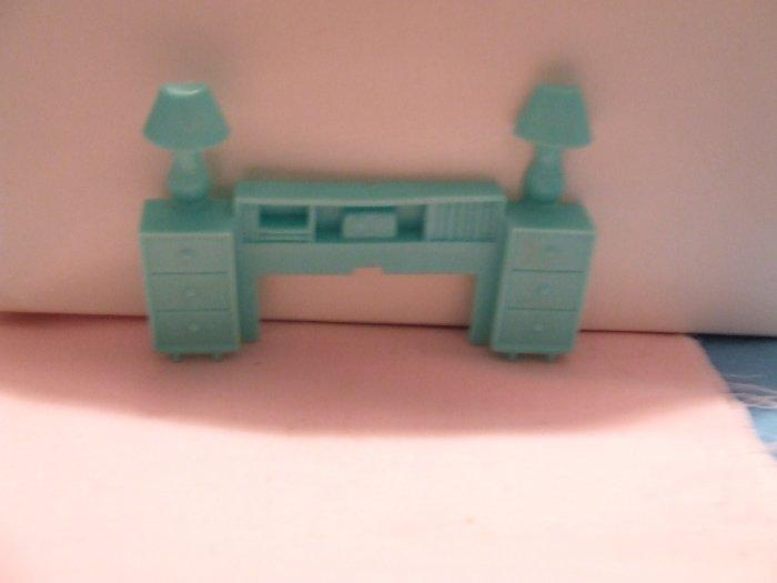 Dollhouse Furniture Molded turquoise plastic headboard  marked Superior