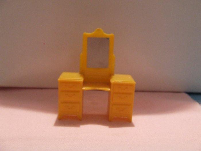 Dollhouse Furniture Molded Yellow hard plastic Vanity marked MARX