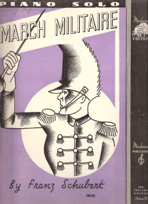 """Sheet Music """"March Militaire"""" Piano Solo by Franz Schubert"""