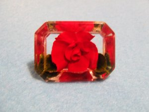 Pin Lucite Reverse Carved and Painted Red Rose