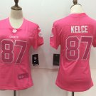 Women's Chiefs Travis Kelce #87 Player Jersey Pink Limited Football Stadium Shirt