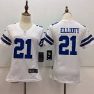 Women's Dallas Cowboys Ezekiel Elliott #21 White Football Jersey