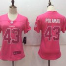 Women's Steelers Troy Polamalu #43 Football Player Jersey Pink