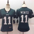 Women's Eagles Wentz 11th Green Football Jersey Stitched Player Jersey
