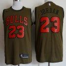 Men's Chicago Bulls 23 Olive Basketball Jersey Replica