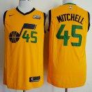 Mitchell #45 Men's Utah Jazz Replica Basketball Jersey Yellow