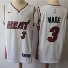Miami Heat #3 Wade Men's Swingman Basketball Jersey White