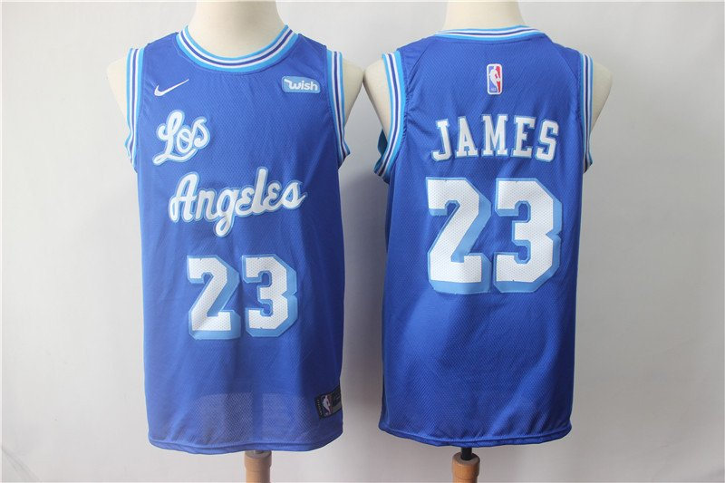 Men's Lakers #23 JAMES Replica Basketball jersey Blue