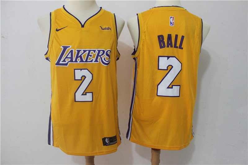 Men's Los Angeles Lakers 2 Lonzo Ball Basketball Replica Jersey Icon