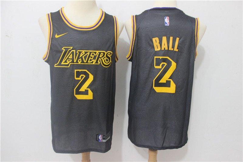 Men's Lakers BALL #2 City Swingman Jersey Black
