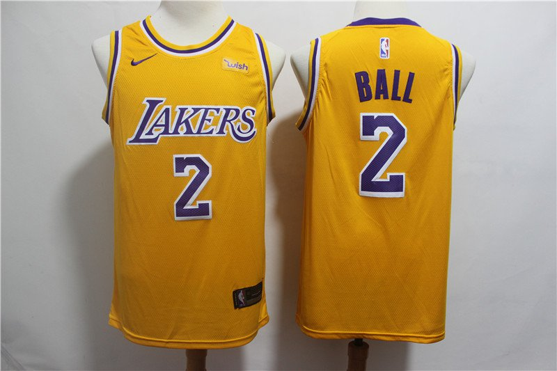 Lonzo Ball #2 LA Lakers Men's Gold Icon Swingman Jersey