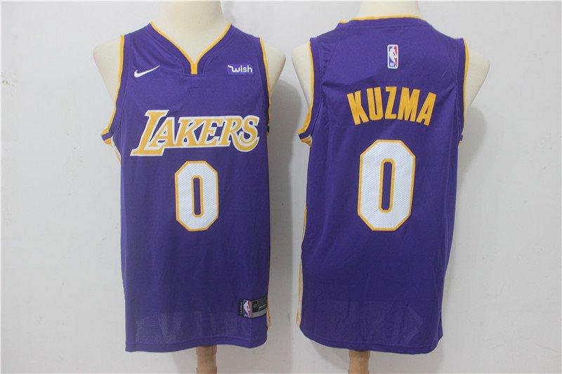 Men's Lakers #2 Kyle Kuzma Purple Swingman Jersey Statement