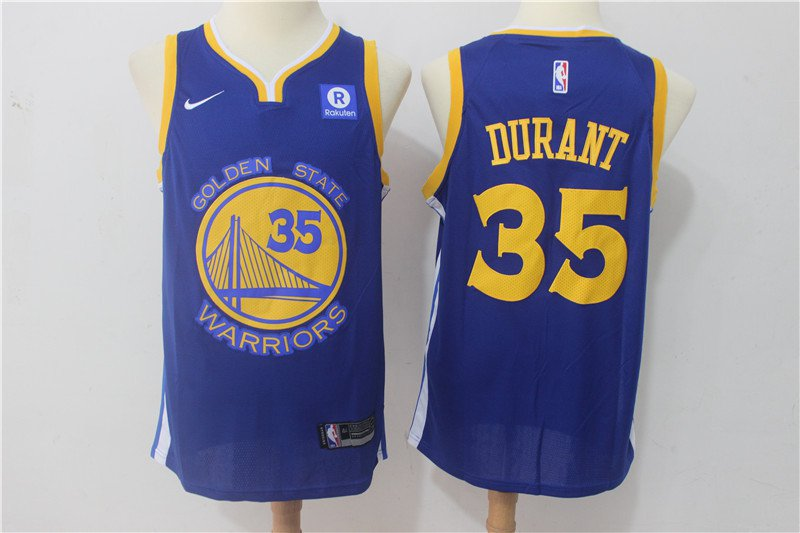 Men's Warriors Kevin Durant #35 Royal Blue Icon Swingman Jersey