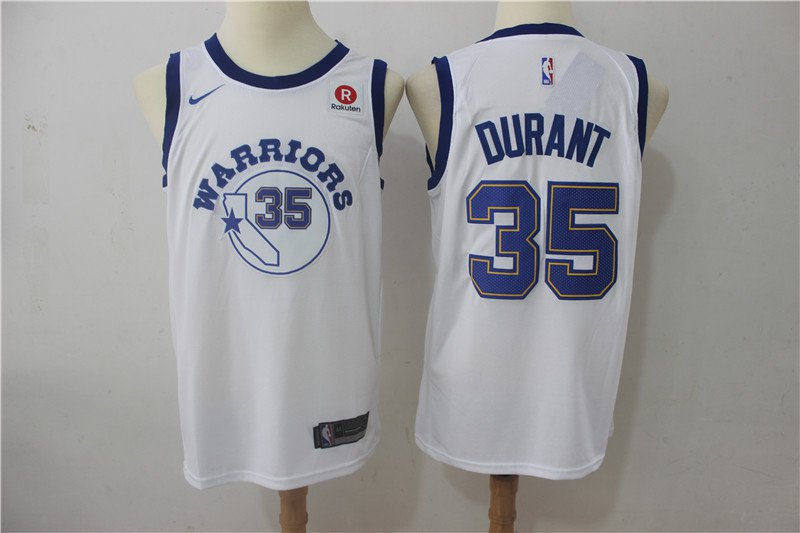 Men's Golden State Warriors #35 Durant Basketball Replica Jersey White