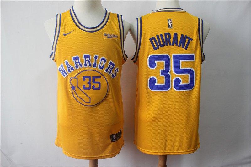 Men's Warriors #35 Durant Replica Swingman Jersey Yellow