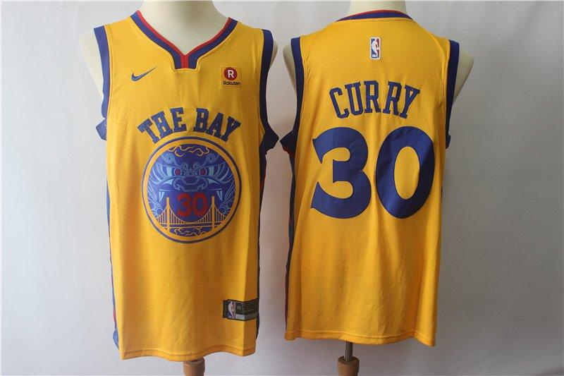 Men's Golden State Warriors 30 Stephen Curry Yellow Basketball Replica Jersey
