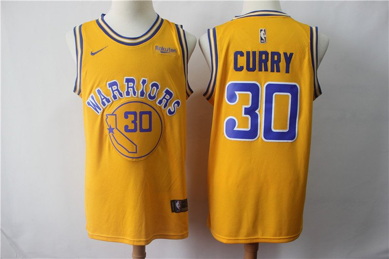Men's Warriors Stephen Curry City Swingman Jersey Yellow
