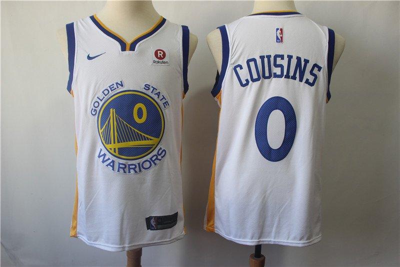Men's Warriors DeMarcus Cousins #0 Stitched Basketball Replica Jersey