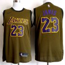 JAMES #23 Men's Lakers Olive Basketball Replica Jersey