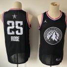 Minnesota Timberwolves All Star #25 Derrick Rose Mens Black Swingman Jersey
