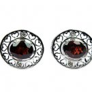 Solid 925 Sterling Silver Natural Faceted Garnet Gemstone Men's Cufflinks
