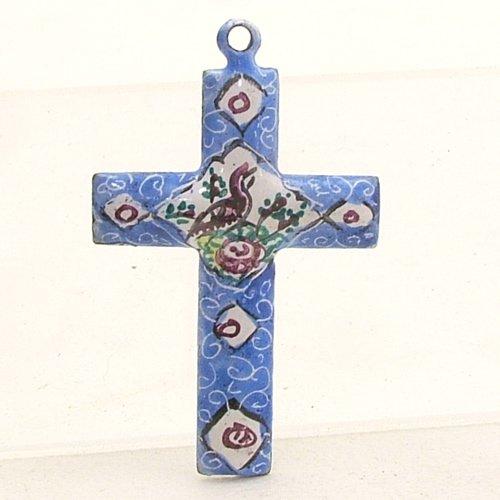 Mina Kari Blue Persian Enamel Cross Hand Painted