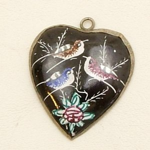 Mina Kari Persian Enamel Heart Pendant Hand Painted