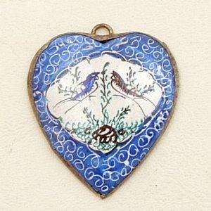 Mina Kari Blue Persian Enamel Heart Pendant