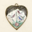 Mina Kari Black Persian Enamel Heart Bird Pendant