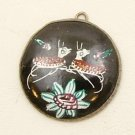 Round Mina Kari Black Pendant with Deer