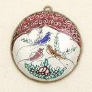 Mina Kari Brown Persian Enamel Round Bird Pendant