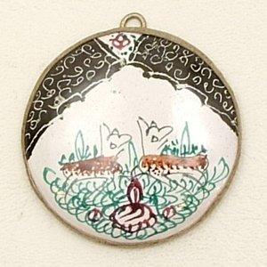 Mina Kari Black Persian Enamel Round Deer Pendant